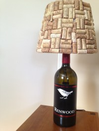 Wine bottle lamp with cork covered lamp shade 2012 | wine ...