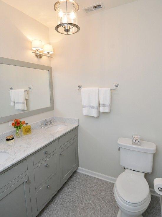 Gray Bathroom with bathroom cabinets painted Benjamin