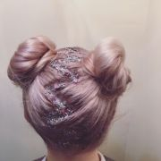 silver & pink glitter zigzag parting