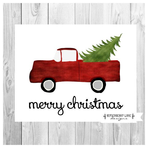 Vintage Red Truck With Tree Christmas Rustic Holiday