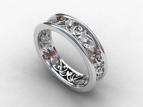 White Sapphire Ring, Filigree, Sapphire Wedding Band, Lace