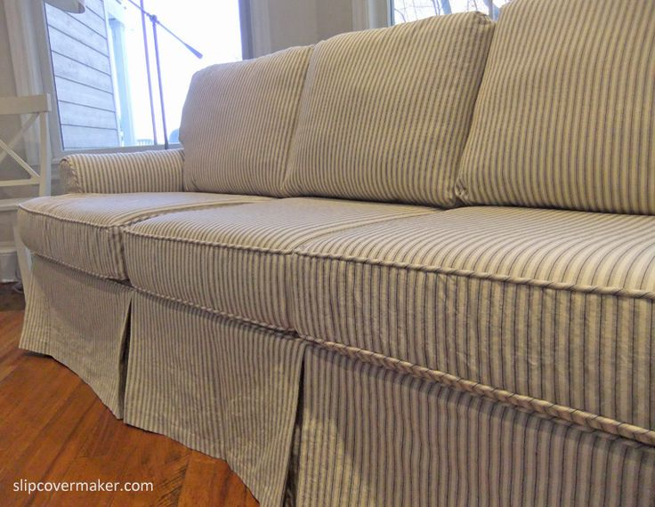 sofa slipcover patterns free repair london custom in cotton ticking fabric. love the ...