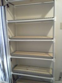 PVC Pipe storage shelves. I built this. Some projects do ...