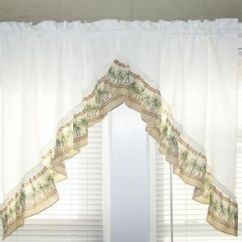 Swag Kitchen Curtains Wall Mounted Cabinets Palm Trees Tropical Valance Pair ...