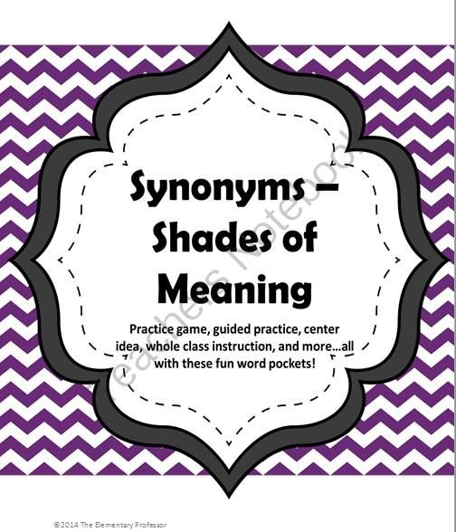 Synonym Pockets Shades of Meaning gamelessoncenterpractice from The Elementary Professor on