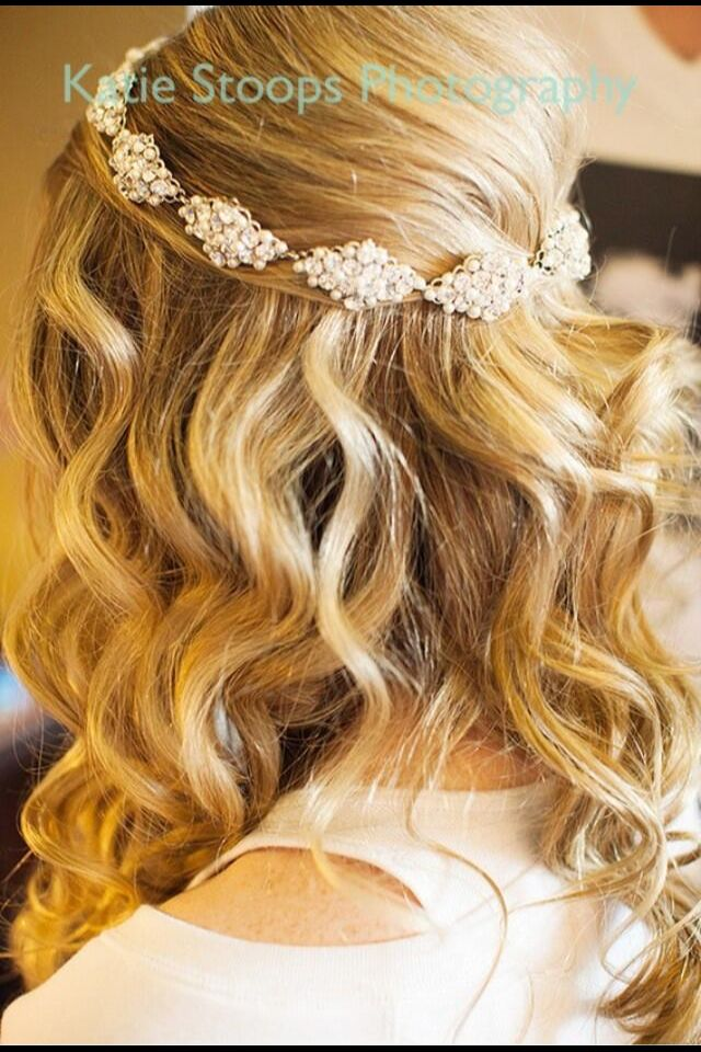 Half Up Half Down Wavy Bridal Hairstyle But With Flowers