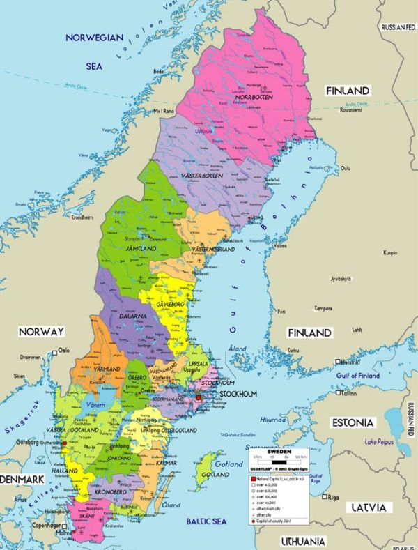 Political Map of Sweden Family History Pinterest