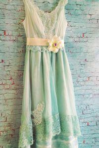 Pale seafoam aqua chiffon & lace fishtail offbeat bride ...