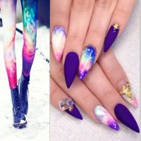 Multicolor Fashion Inspired Galaxy Stiletto Nails ...