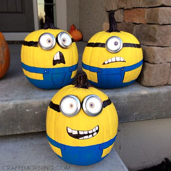 Make no-carve minion pumpkins from the movie despicable me! It is so fun painting them and they are great for a Halloween