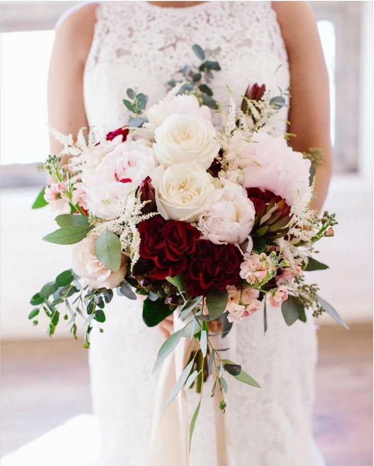 Brides bouquet large  lush loose  blush peonies burgundy roses white roses astilbe peach