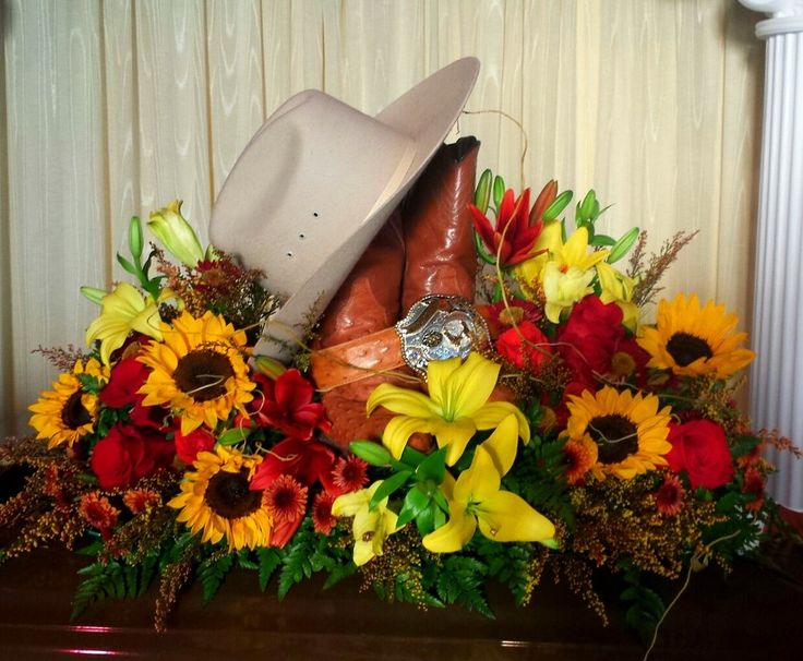 Western memorial flowers cowboy memorial flowers funeral arrangement in loving memory