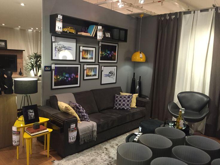 sofa cinza e almofadas coloridas semi circle sofas uk sala estar amarela etna | projeto maquete ...