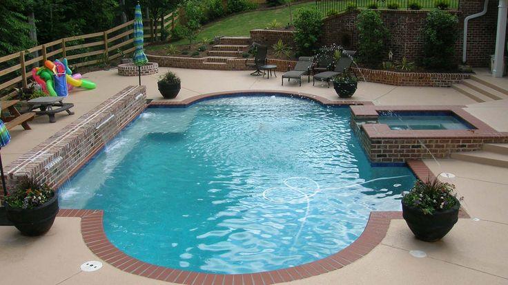 travertine stamped concrete with brick edge pool  Google