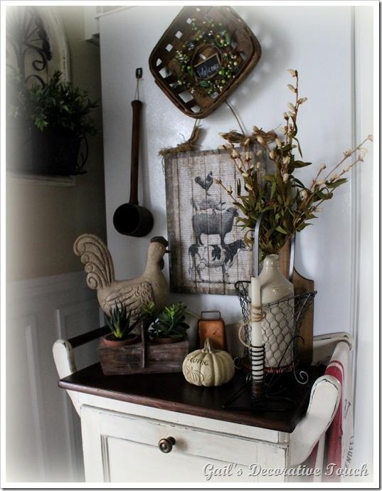 primitive kitchen decorating ideas island bar stools farmhouse vignette | cottage, shabby chic and white decor ...