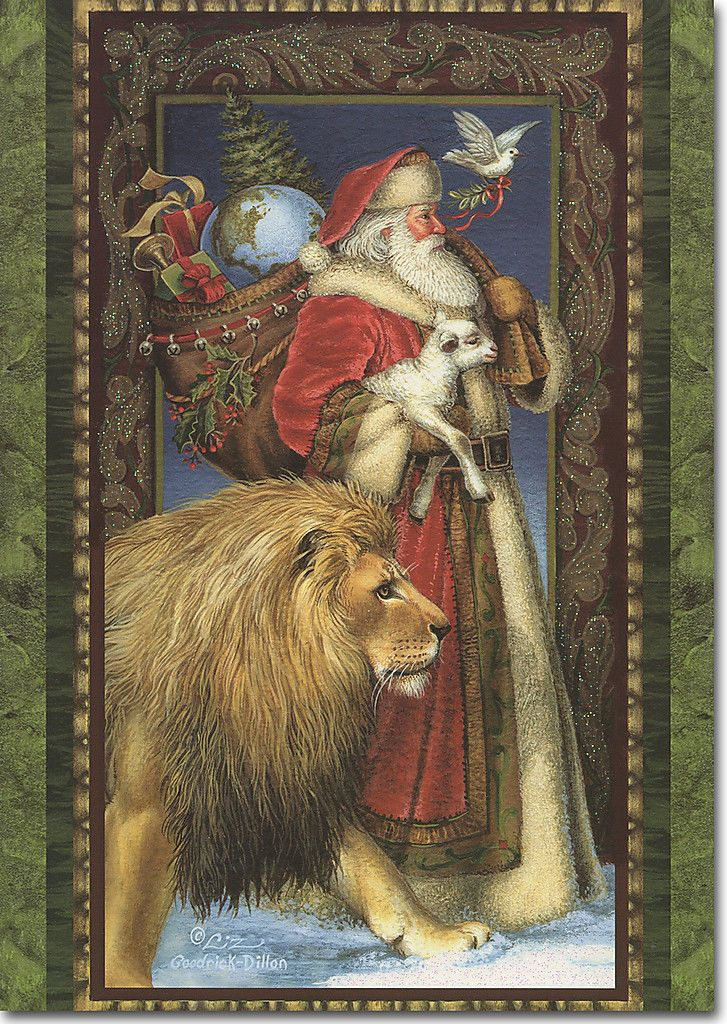 Santa Walking With Lion Amp Lamb 14 Boxed Christmas Cards By