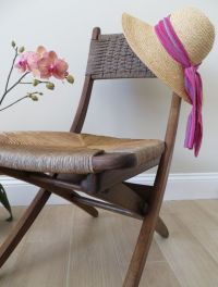 Mid Century Modern Woven Rope Folding Wood Chair Danish ...