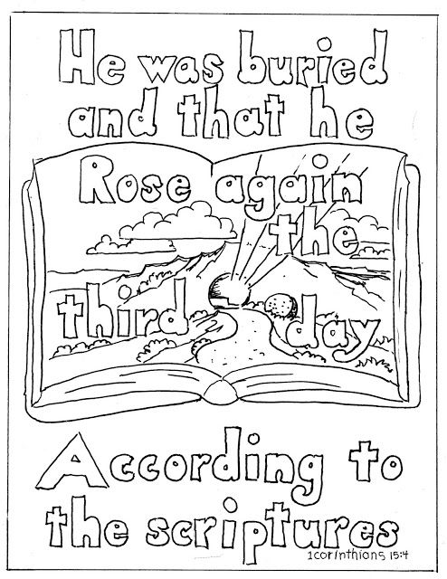 Coloring Pages for Kids by Mr. Adron: 1 Corinithians 15:4