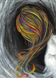 rainbow hair art print fibromyalgia