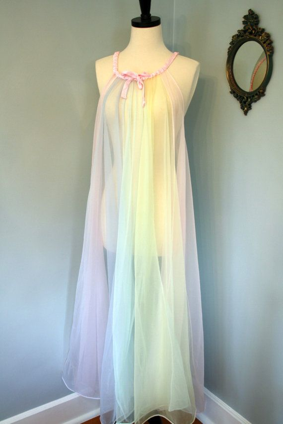 oh so sexy the colours of spring 60s chiffon nightgown plus size negligee by