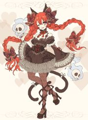 anime girl with orange hair pigtails