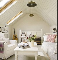 white tongue/groove pitched ceiling | Coastal - cottage ...