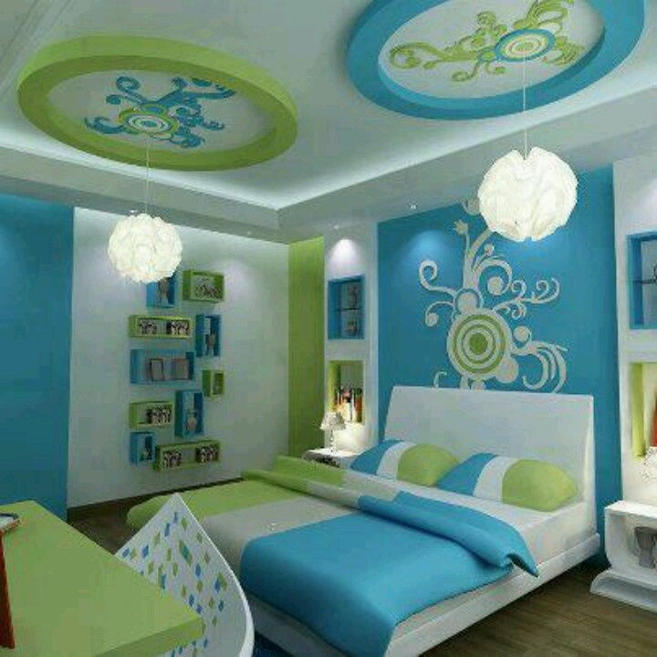 Blue and green bedroom! These colors are a little bright