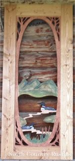 Hand Carved Hand Painted Screen door featuring Loon Lake by North Country Rustics www