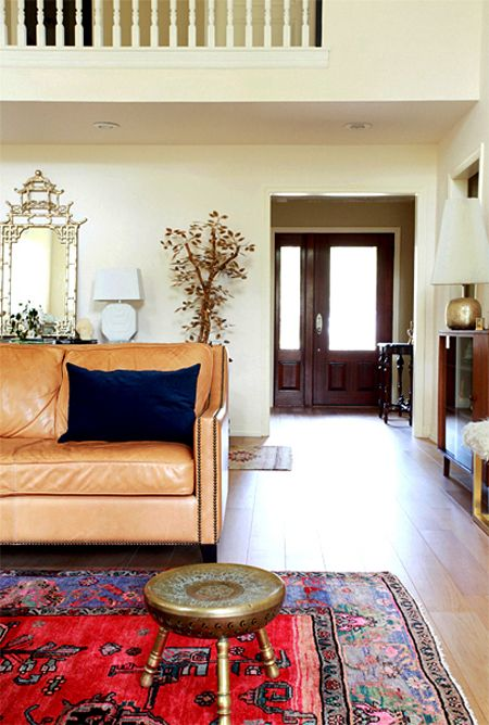 Design Crisis Erin Williamson living room tan leather