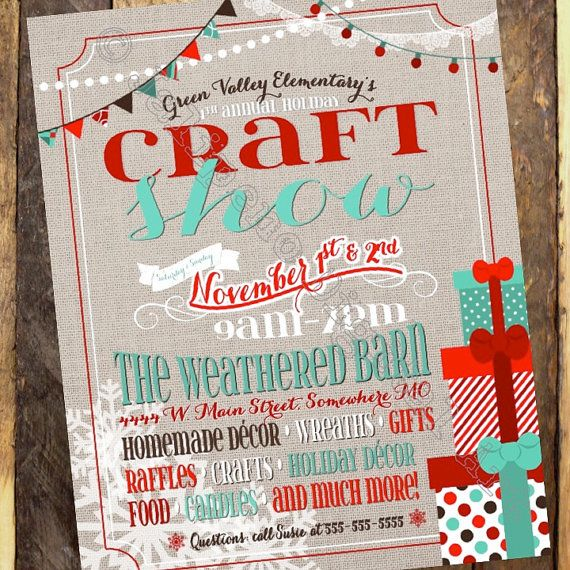 Red And Teal Holiday Craft Show Flyer Holiday Craft