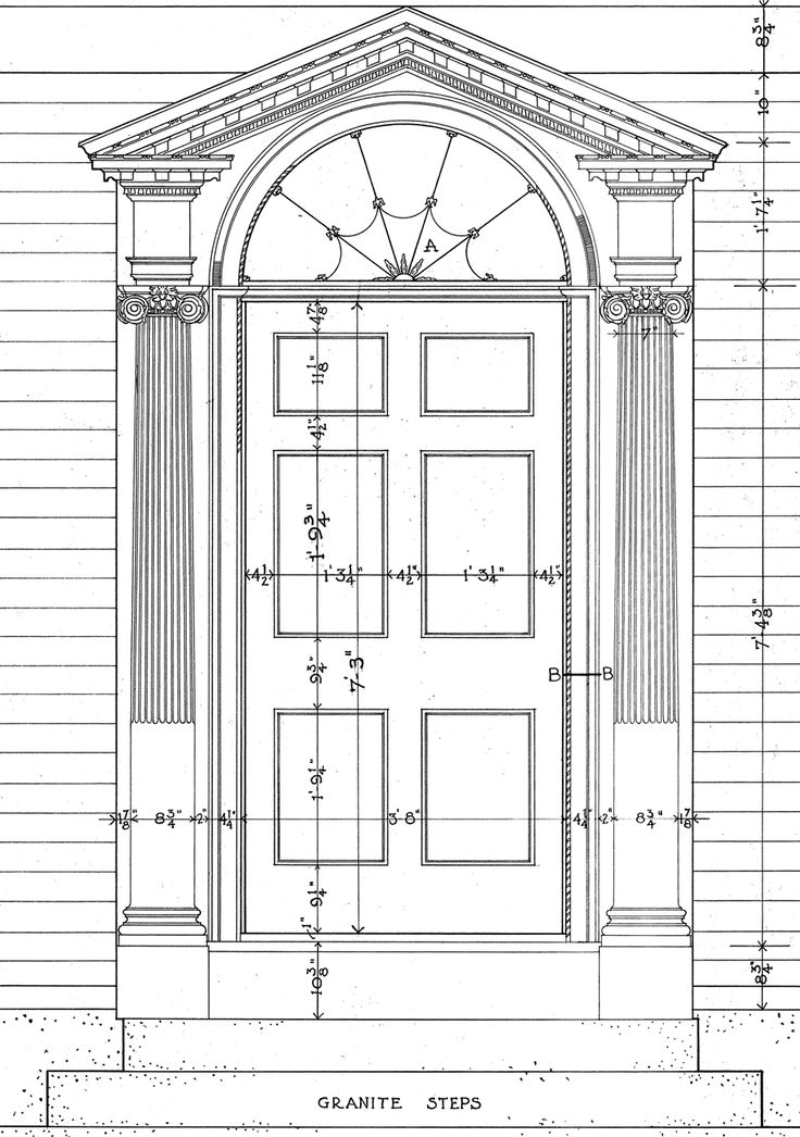 Pedimented door surround