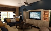 Nautical with blue accent wall. Living room in our ...