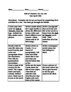 Roll Of Thunder Hear My Cry Tic Tac Toe Assignment 6th