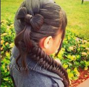 fishtail braid with bow. impressive