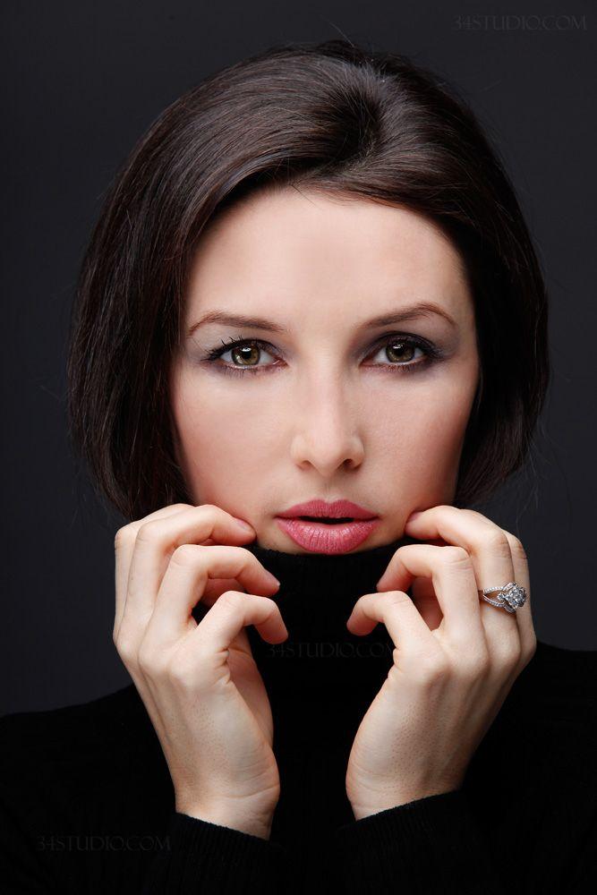 fashion headshot russian model posing used beauty dish in