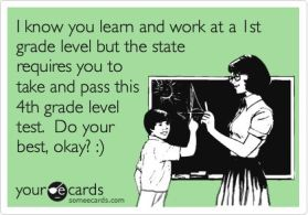 Yep, this describes the state standardized test I'm getting ready to administer next week to a T.: