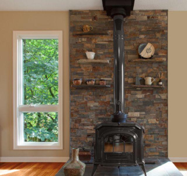 Stack stone & built in shelves