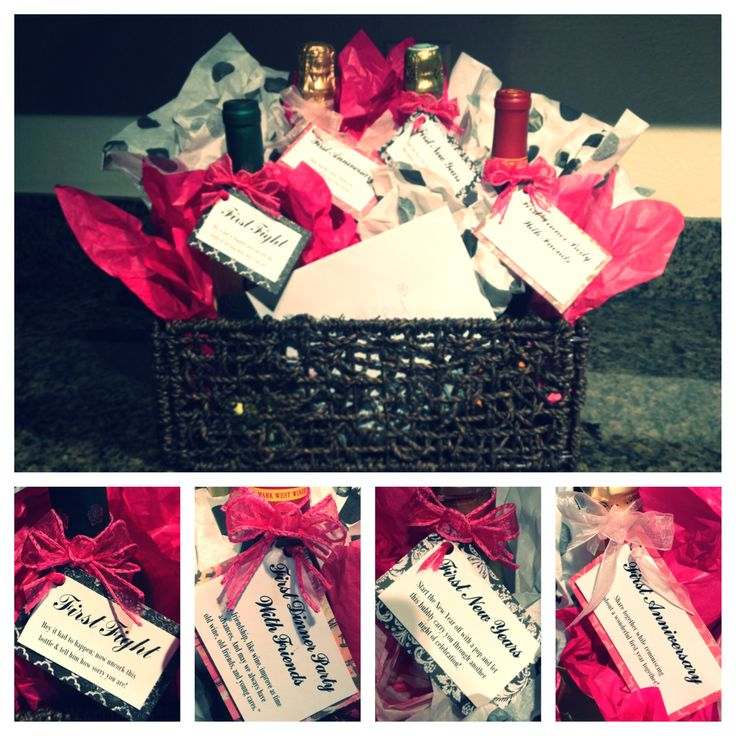 Bachelorette party gift idea basket of wine and champagne