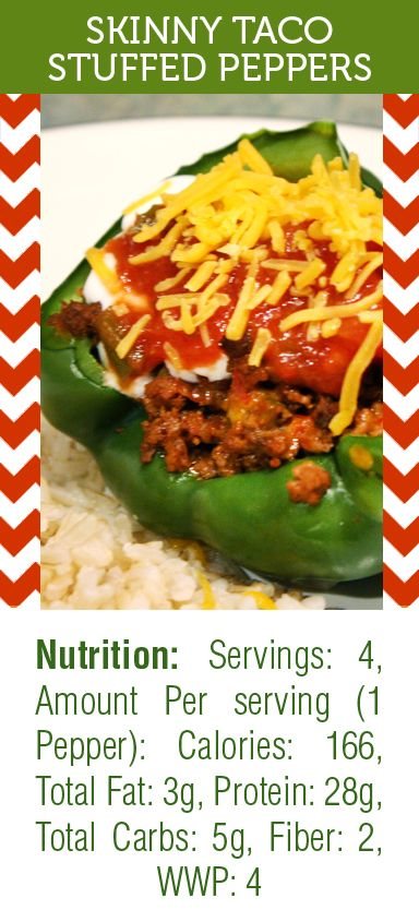 Skinny Taco Stuffed Peppers is one of my favorite healthy lunches! SUPER filling and tasty and only ringing it at 166 calories and