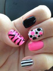 gel polish nail art hot pink black