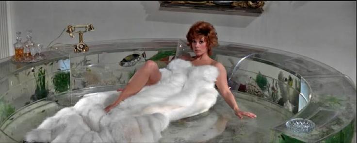 Jill St John on the aquarium bed from Diamonds Are