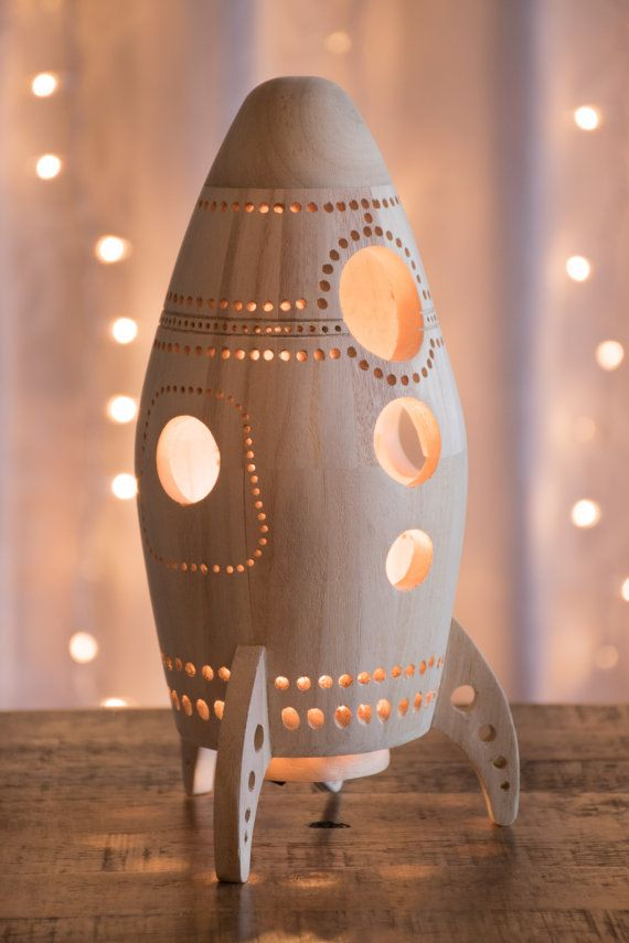 Wooden Rocket Ship Night Light  Wood Nursery  Baby  Kid Lamp  Spaceship Nightlight Lantern