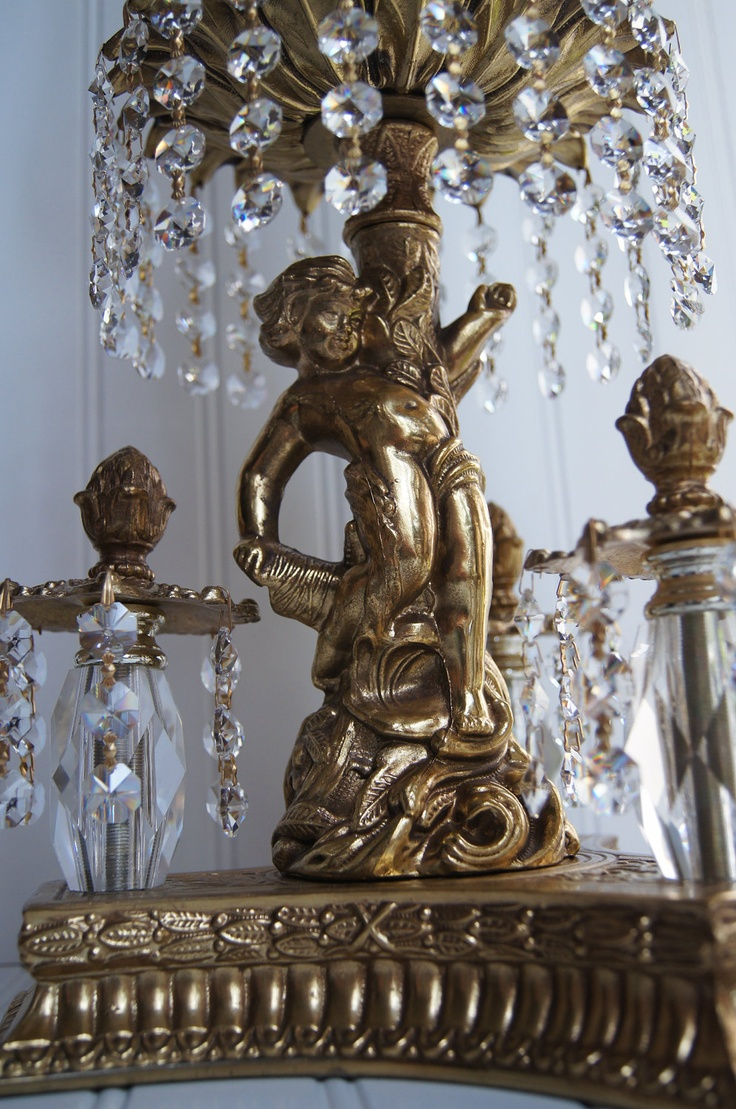 Extremely Beautiful Unique Vintage Heavy Crystal Lamp With Gold Cherub Figure 22500 Via Etsy