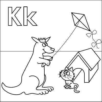 Letter K coloring page (Kangaroo, King, Kite, Kitten