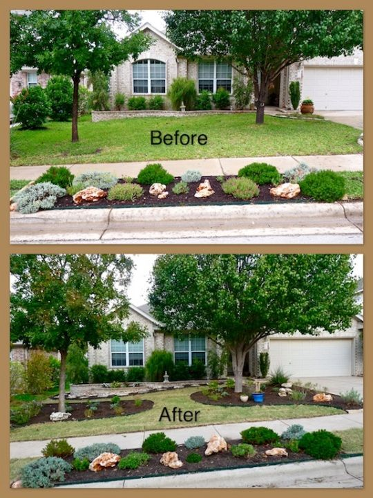 xeriscaped front yard decking