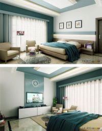 blue modern bedroom   Modern white aqua blue bedroom ...
