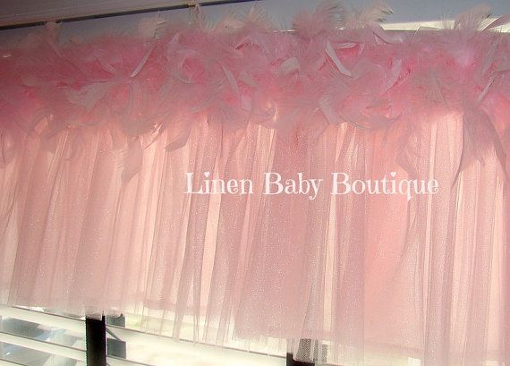 Tulle Window Valance Topper Pink Tulle and Feather by