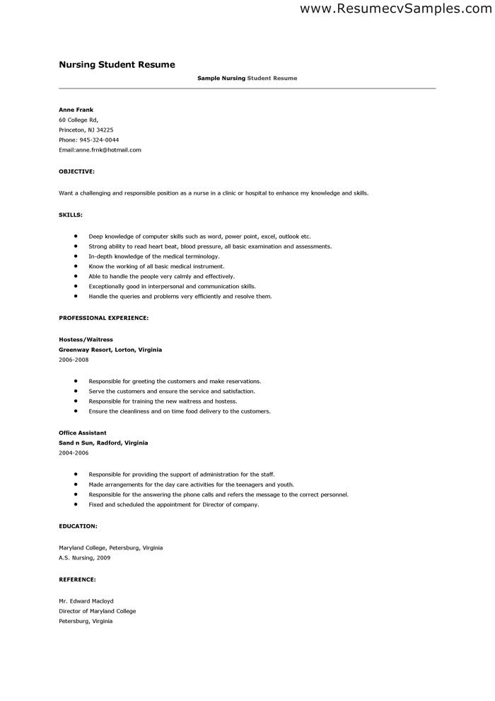 example resume reference page
