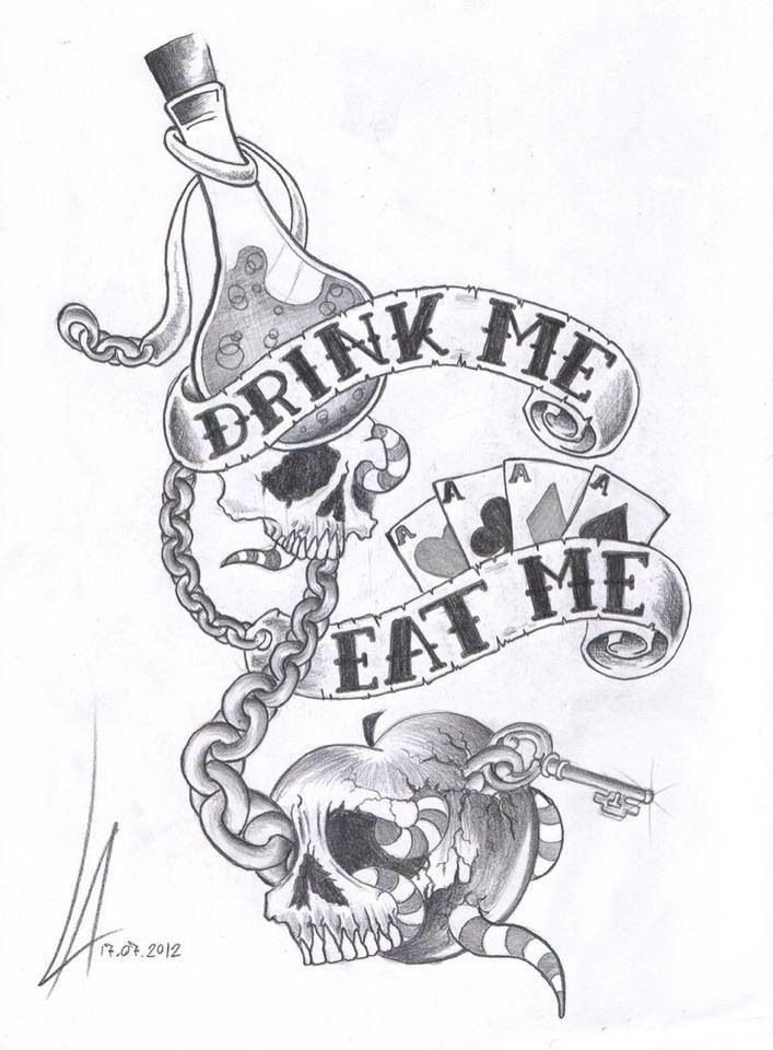 #alice eat me, drink me. Would make a great tattoo