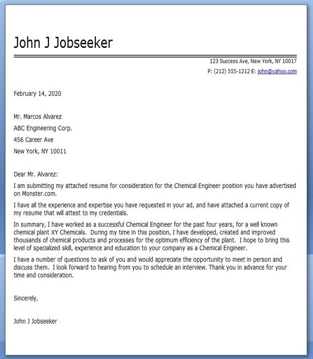 Chemical Engineering Cover Letter Career Pinterest
